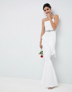 Read more about Asos edition ruffle maxi wedding dress with embellished belt - white