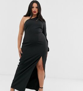 Read more about Vesper curve one shoulder maxi dress with split and cut out in black