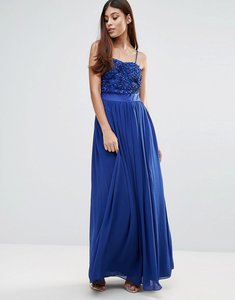 Read more about Zibi london maxi dress with 3d floral detail - cobalt