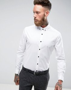 Read more about Asos slim shirt in white with button down collar and contrast buttons - white