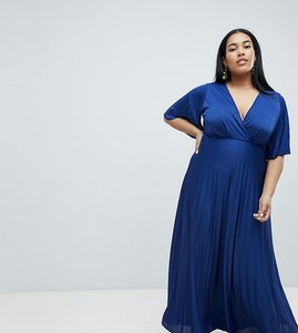 Read more about Asos design curve kimono pleated maxi dress - blue