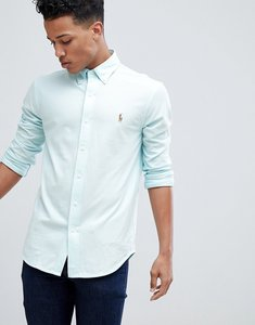 Read more about Polo ralph lauren slim fit pique shirt multi player stretch in mint green blue - green