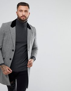 Read more about Asos wool mix overcoat with velvet collar in grey herringbone - grey