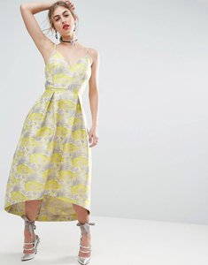 Read more about Asos salon beautiful floral jacquard midi prom dress - multi