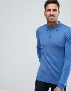 Read more about Asos knitted muscle fit polo in sky blue - blue