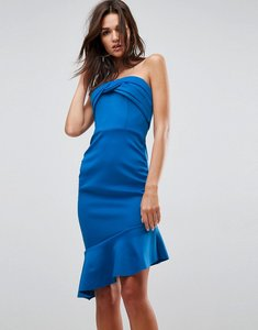 Read more about Asos bandeau ruched midi pep hem dress - cobalt
