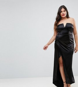 Read more about Club l plus plunge front bandeau maxi dress with thigh split - black