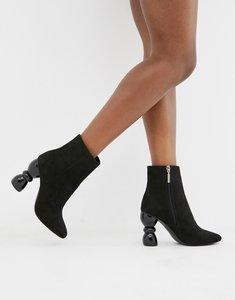 91546b8b1 asos rachelle velvet heeled ankle boots blush velvet - Shop asos ...