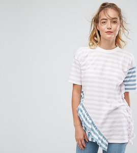 Read more about Asos tall t-shirt in stripe with frill detail - multi