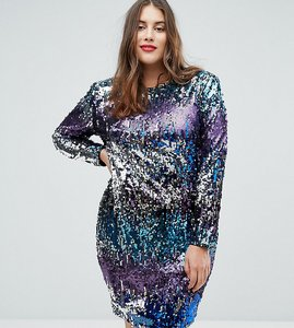 Read more about Tfnc plus long sleeve sequin mini dress in multi sequin with shoulder pads - multi sequin