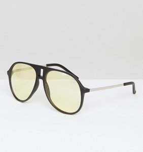 Read more about Asos black aviator sunglasses with light yellow lens - black