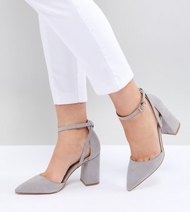 Read more about Raid wide fit katy light grey block heeled shoes - light grey suede