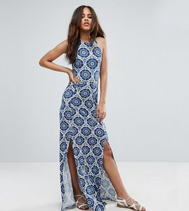 Read more about Asos tall halter neck maxi dress with shirred back panel in tile print - blue