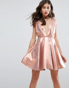 Read more about Asos metallic deep plunge mini skater dress - gold