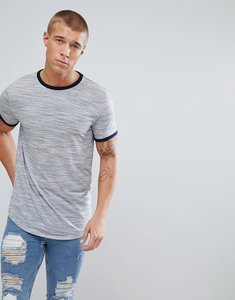 Read more about Asos t-shirt in interest fabric with contrast ringer in grey - grey inject