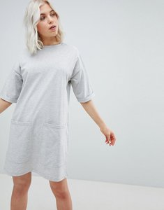 Read more about Asos design boyfriend t-shirt dress with pockets - grey marl