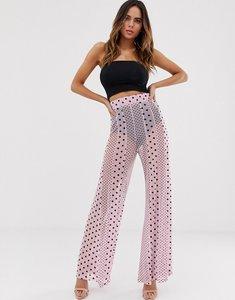0d90c1d3013e0 Read more about Asos design wide leg trousers in mixed spot mesh print