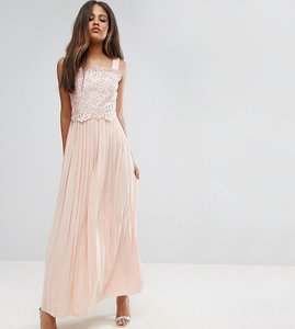 Read more about Little mistress tall premium lace top maxi dress with pleated skirt - peach