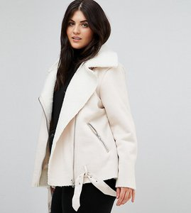 Read more about Alice you aviator jacket in faux shearling - cream