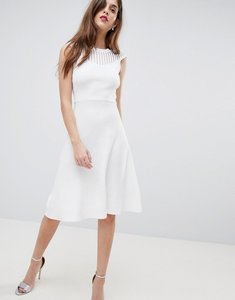 Read more about French connection knitted fit and flare dress - white