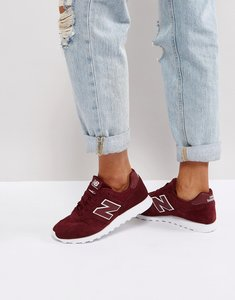 Read more about New balance 373 suede trainers in burgundy - red