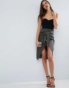 Read more about Asos pencil skirt in leather look with double split and self belt - grey