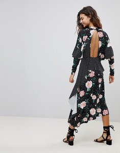 Read more about Asos mixed print deconstructed midi tea dress with open back - mixed print