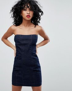 Read more about Asos denim strapless dress in indigo - blue