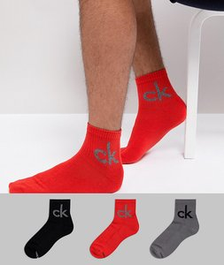 Read more about Calvin klein logo quarter socks 3 pack - multi
