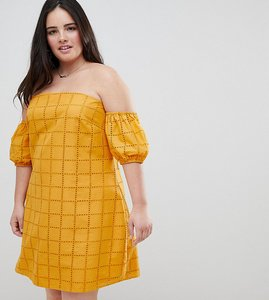 Read more about Asos design curve ultimate broderie puff ball off shoulder mini sundress - yellow