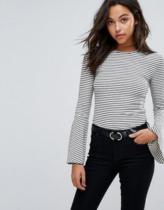 Read more about Esprit flared sleeve stripe top - white