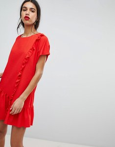 Read more about Lost ink shift dress with asymmetric frill hem - red
