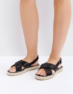 Read more about Truffle collection slingback flat espadrille sandal - black stones