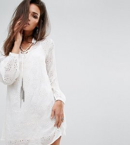 Read more about Religion relaxed smock dress in sheer fabric with chain tassel ties - winter white
