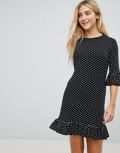 Read more about Daisy street smock dress in spot with ruffle hems - black spot