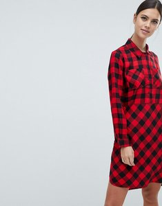 Read more about French connection margot buffalo check shirt dress - mars red black