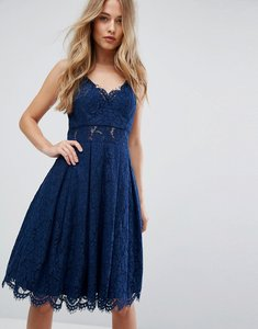 Read more about Chi chi london cami strap midi dress in premium lace - navy