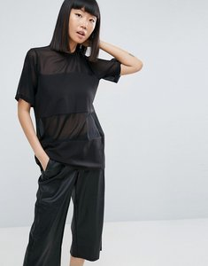 Read more about Asos woven t-shirt in sheer solid - black