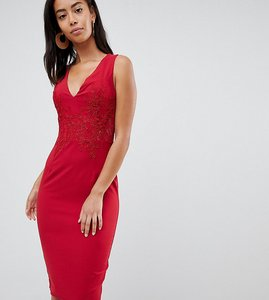Read more about Little mistress tall plunge front lace applique bodycon dress - red