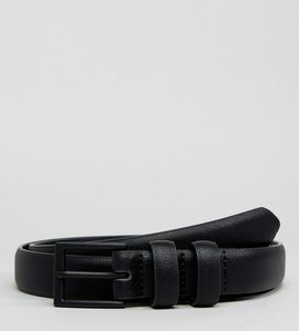 Read more about Asos faux leather smart skinny belt in black with coated buckle - black