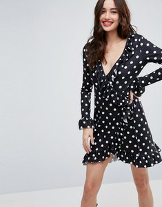 Read more about Asos wrap front tea dress with frill in polka dot - polka dot