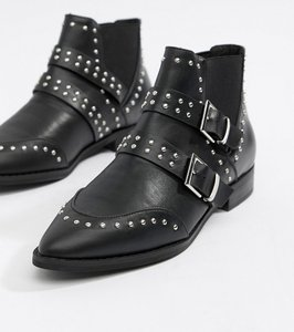 Read more about Asos design alas pointed studded buckle ankle boots - black