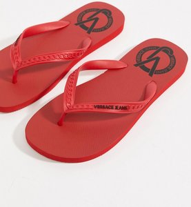 Read more about Versace jeans logo flip flops in red - red