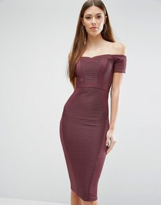 Read more about Asos bandage off the shoulder bardot midi bodycon dress - plum