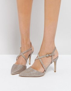 Read more about New look cross front pointed heeled shoes - gold