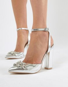 Read more about True decadence silver embellished block heel shoes - silver