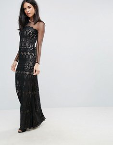 Read more about Forever unique laced detail long sleeved maxi dress - black