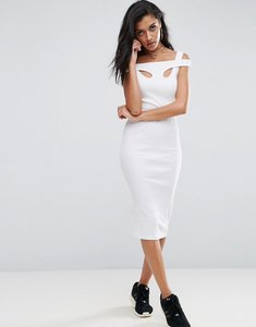 Read more about Asos midi strappy bodycon dress with shoulder detail in rib - white