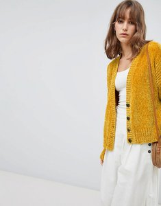Read more about Asos design cropped cardigan in chenille with buttons - mustard
