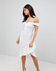 Read more about Ax paris off shoulder bodycon dress with frill - cream
